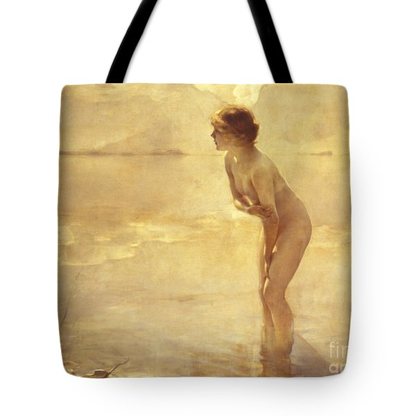 Tote Bag featuring the painting Chabas, September Morn by Paul Chabas