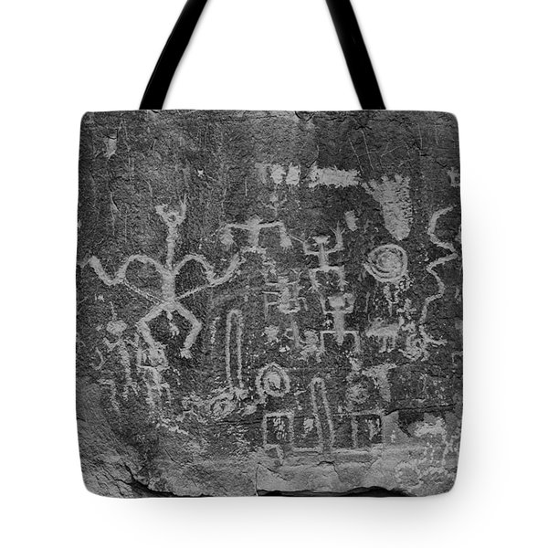Tote Bag featuring the photograph Chaco Canyon Petroglyphs Black And White by Adam Jewell