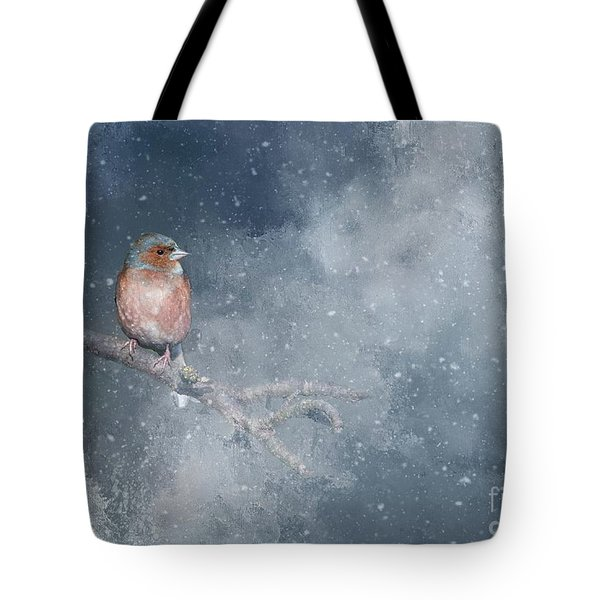 Chaffinch On A Cold Winter Day Tote Bag