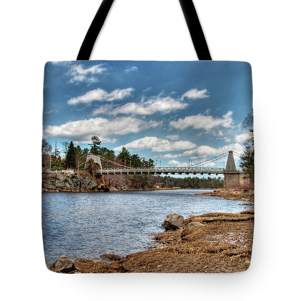 Tote Bag featuring the photograph Chain Bridge On The Merrimack by Wayne Marshall Chase