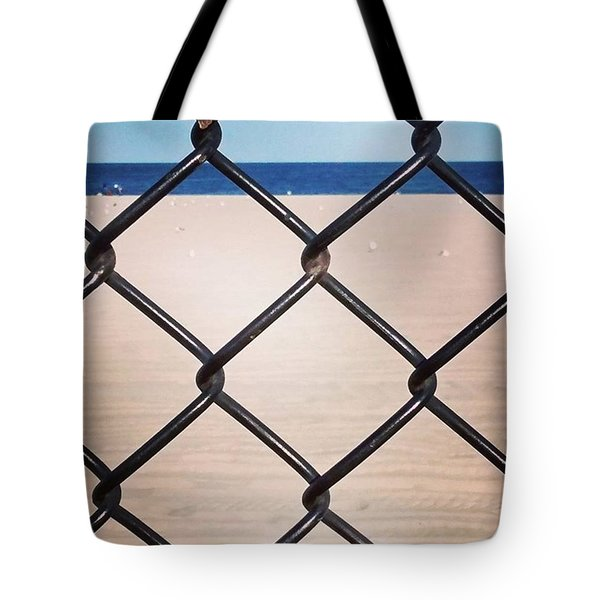 Chain Fence At The Beach Tote Bag by Colleen Kammerer