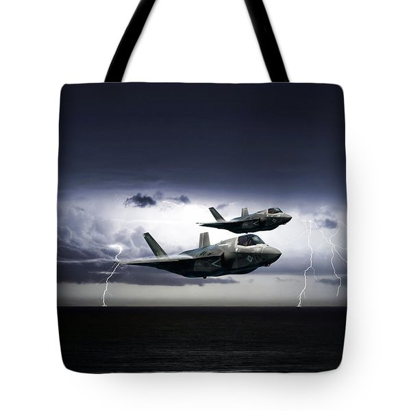 Tote Bag featuring the digital art Chain Lightning by Peter Chilelli