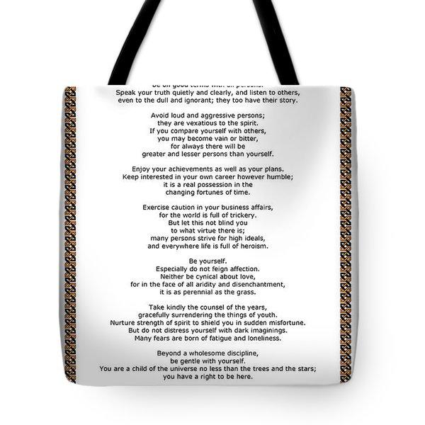 Chain Link Desiderata Poem Tote Bag