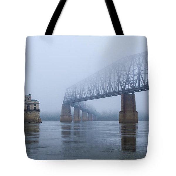 Chain Of Rocks Bridge Over Mississippi River Tote Bag by Garry McMichael