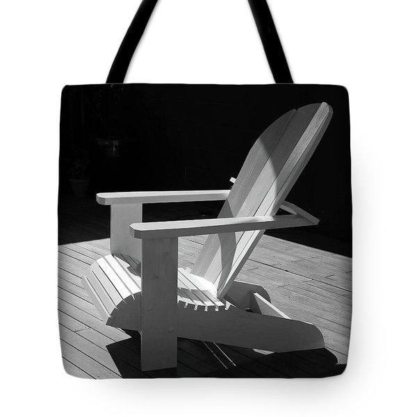 Chair In Black And White Tote Bag by Nareeta Martin