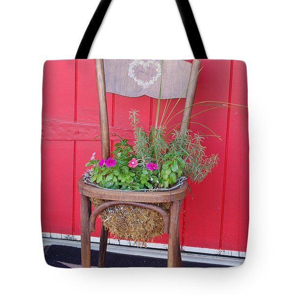 Tote Bag featuring the photograph Chair Planter by Frank Stallone