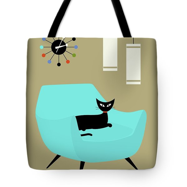 Tote Bag featuring the digital art Chair With Ball Clock by Donna Mibus