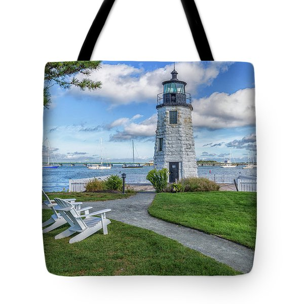 Chairs At Newport Harbor Lighthouse Tote Bag