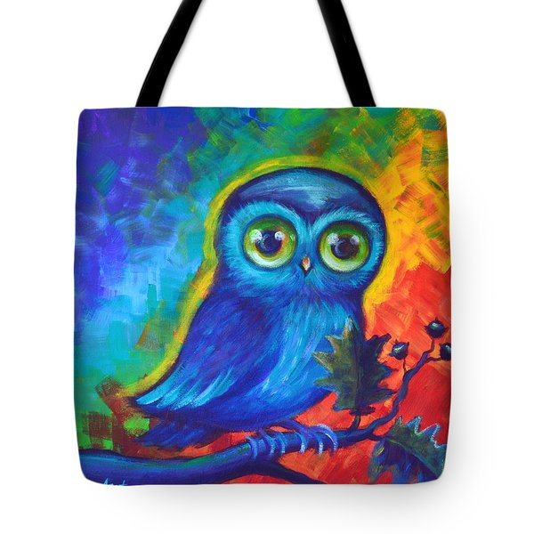 Tote Bag featuring the painting Chakra Abstract With Owl by Agata Lindquist