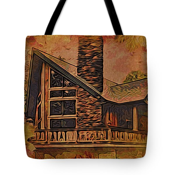 Tote Bag featuring the digital art Chalet In Autumn by Kathy Kelly