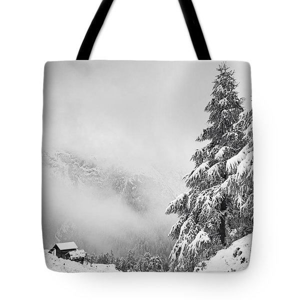 Chalet With A View Tote Bag by Dominique Dubied