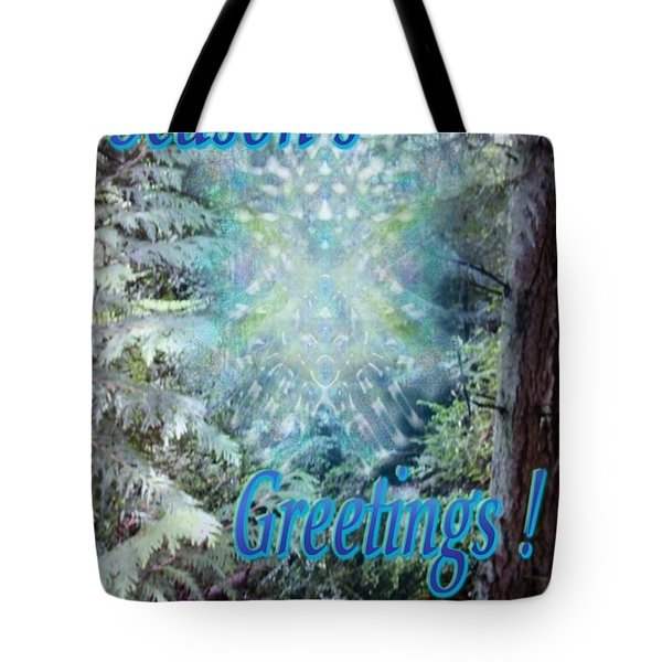 Chalice-tree Spirit In The Forest V3 Holiday Card Tote Bag by Christopher Pringer