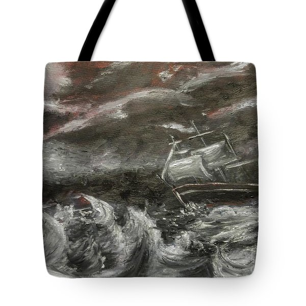 Tote Bag featuring the painting Challenged by Isabella F Abbie Shores FRSA