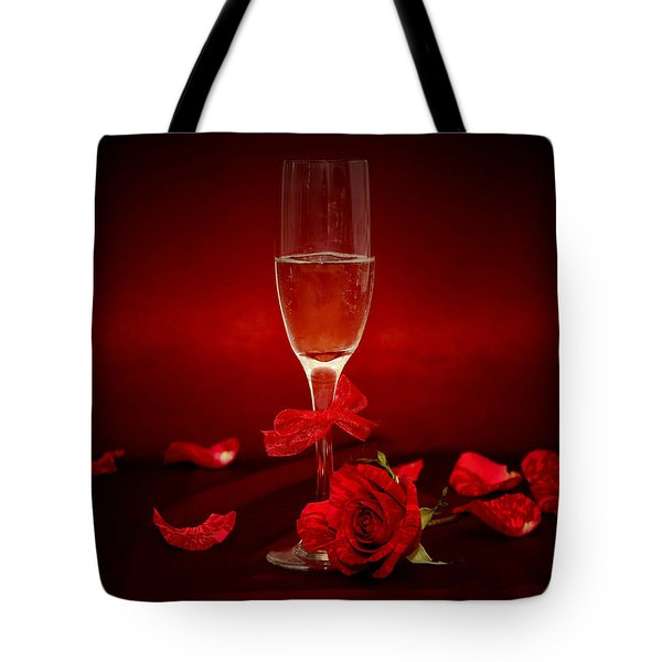 Champagne Glass With Red Roses And Petals Tote Bag