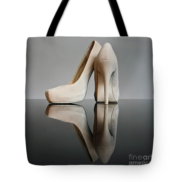 Tote Bag featuring the photograph Champagne Stiletto Shoes by Terri Waters