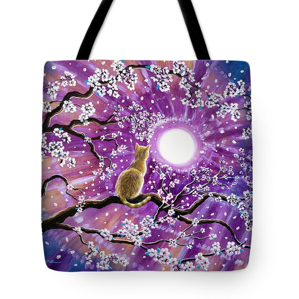 Champagne Tabby Cat In Cherry Blossoms Tote Bag