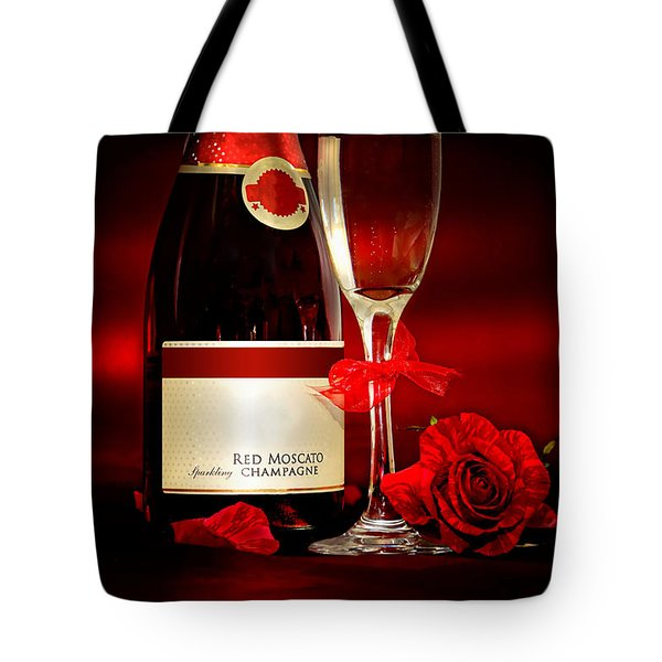 Champagne With Red Roses And Petals Tote Bag