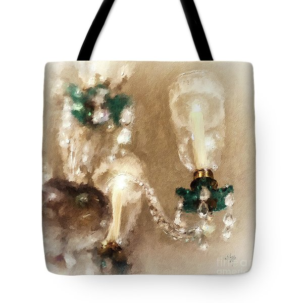 Tote Bag featuring the digital art Chandelier At Winterthur by Lois Bryan