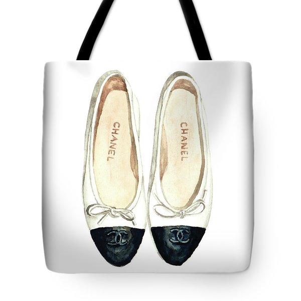 Chanel Ballet Flats Classic Watercolor Fashion Illustration Coco Quotes Vintage Paris Black White Tote Bag