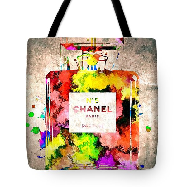 Chanel No 5 Grunge Tote Bag by Daniel Janda