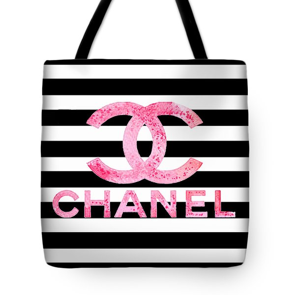 Chanel Pink Logo On Stripes Tote Bag