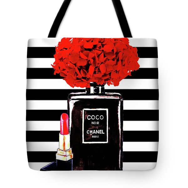 Chanel Poster Chanel Print Chanel Perfume Print Chanel With Red Hydragenia 3 Tote Bag