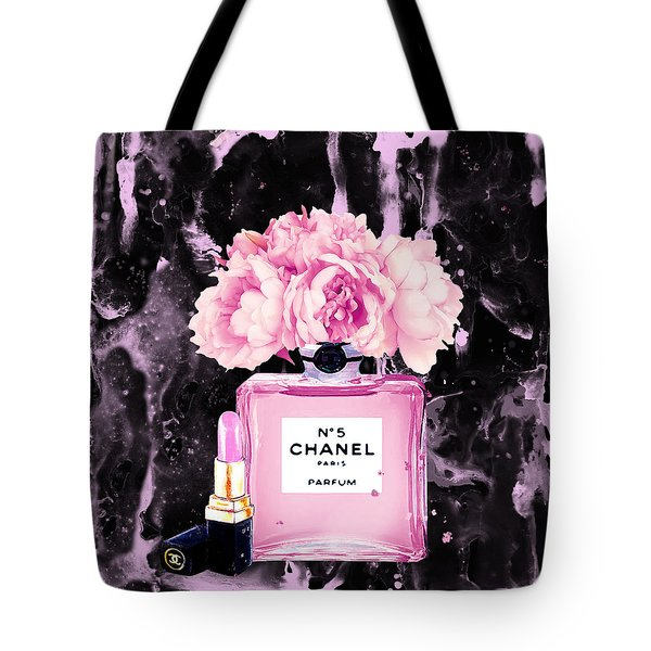 Chanel Print Chanel Poster Chanel Peony Flower Black Watercolor Tote Bag