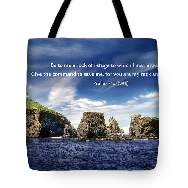 Channel Island National Park - Anacapa Island Arch With Bible Verse Tote Bag