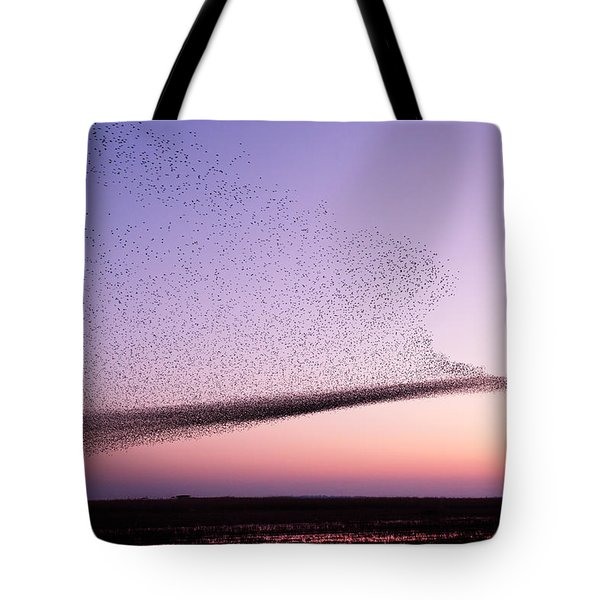 Chaos In Motion - Starling Murmuration Tote Bag by Roeselien Raimond