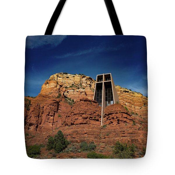 Chapel Of The Holy Cross Tote Bag by Ron White