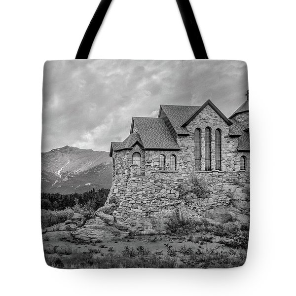 Chapel On The Rock - Black And White Tote Bag