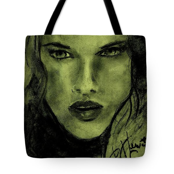 Tote Bag featuring the drawing char-Carol by P J Lewis