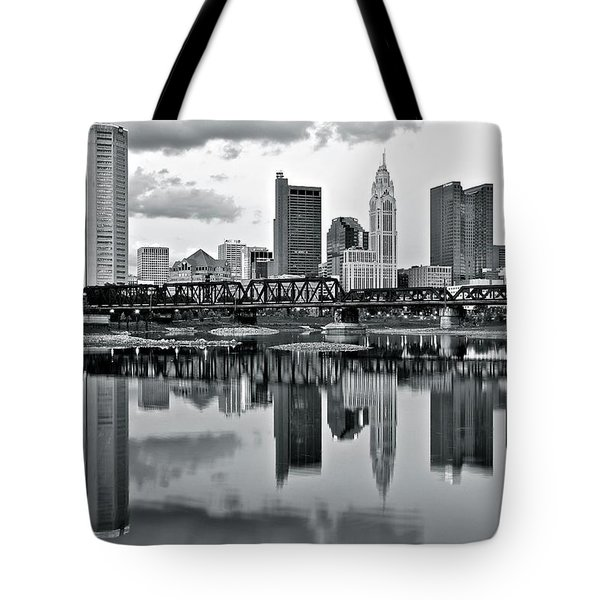 Charcoal Columbus Mirror Image Tote Bag by Frozen in Time Fine Art Photography