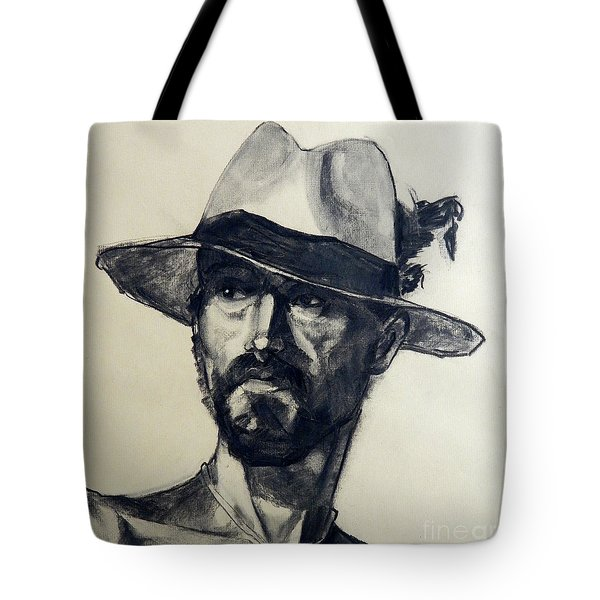 Charcoal Portrait Of A Man Wearing A Summer Hat Tote Bag