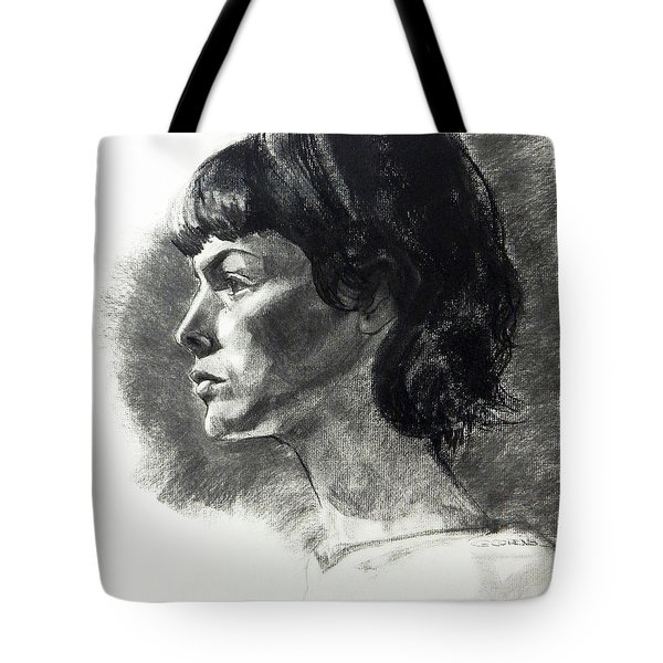 Charcoal Portrait Of A Pensive Young Woman In Profile Tote Bag