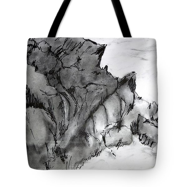 Charcoal Sea Rocks Tote Bag