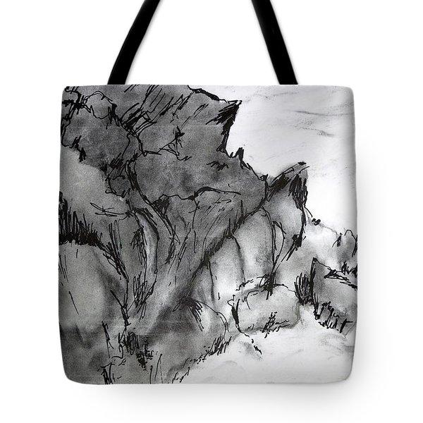 Charcoal Sea Rocks Tote Bag