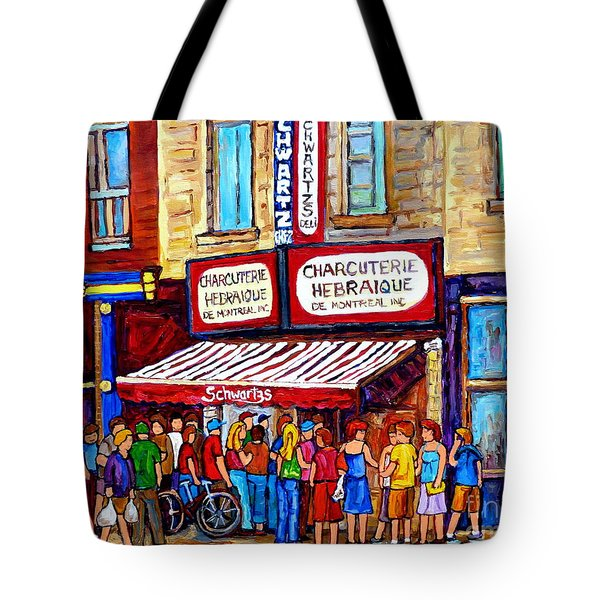 Charcuterie Hebraique Schwartz Line Up Waiting For Smoked Meat Montreal Paintings Carole Spandau     Tote Bag