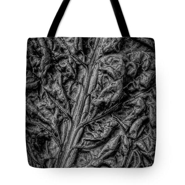 Chard Leaf In Black And White Tote Bag
