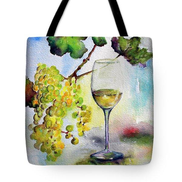Chardonnay Wine Glass And Grapes Tote Bag