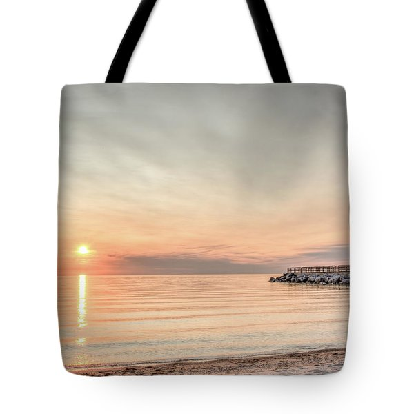 Charelvoix Lighthouse In Charlevoix, Michigan Tote Bag by Peter Ciro