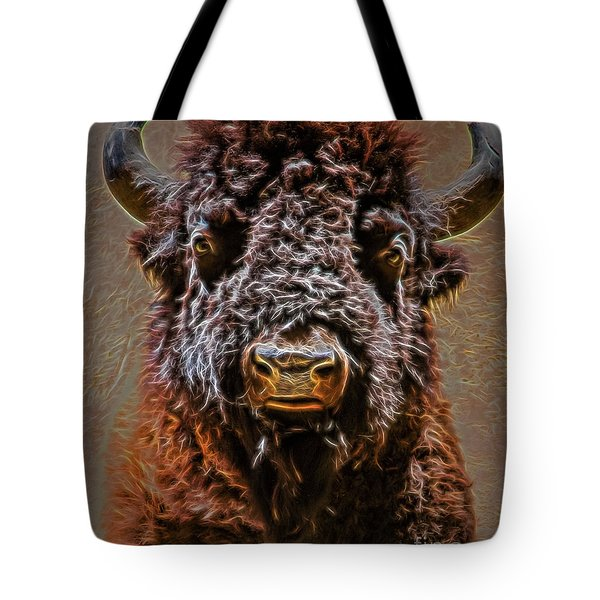 Tote Bag featuring the digital art Charging Bison by Ray Shiu