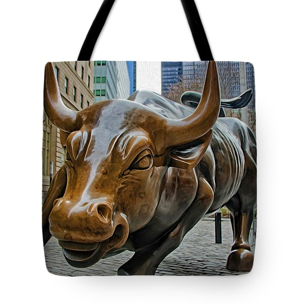 Charging Bull 4 Tote Bag by Nishanth Gopinathan