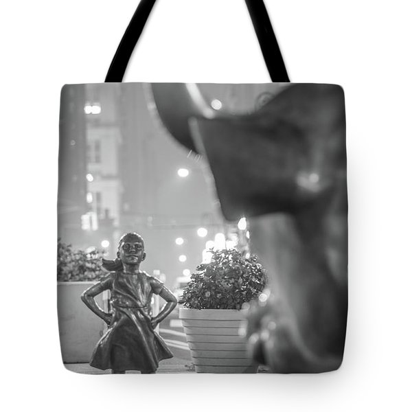 Charging Bull And Fearless Girl Nyc  Tote Bag