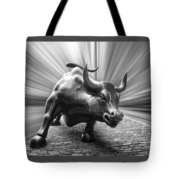 Charging Wall Street Bull B W Tote Bag