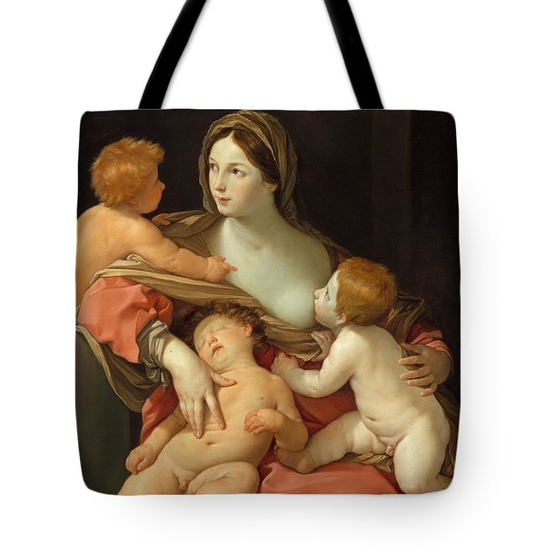 Tote Bag featuring the painting Charity by Guido Reni
