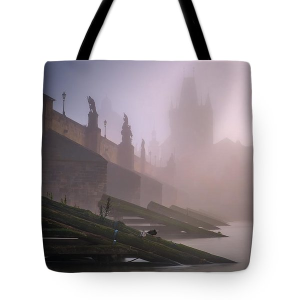 Charles Bridge At Autumn Foggy Day, Prague, Czech Republic Tote Bag