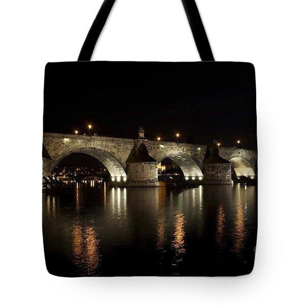 Charles Bridge At Night Tote Bag by Michal Boubin