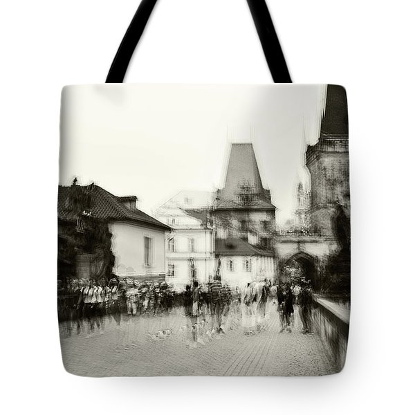 Tote Bag featuring the photograph Charles Bridge. Black And White. Impressionism by Jenny Rainbow