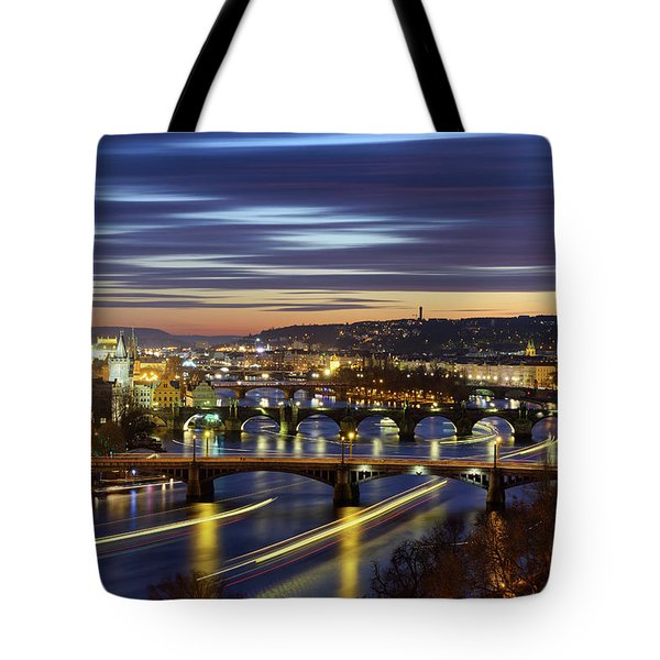 Charles Bridge During Sunset With Several Boats, Prague, Czech Republic Tote Bag